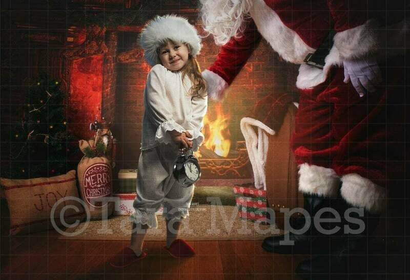 Santa by Fireplace with Hand Out Leaning in Christmas Digital Background Backdrop