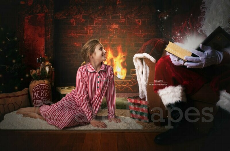 Santa Reading Magic Book 2 by Fireplace Christmas Digital Background Backdrop