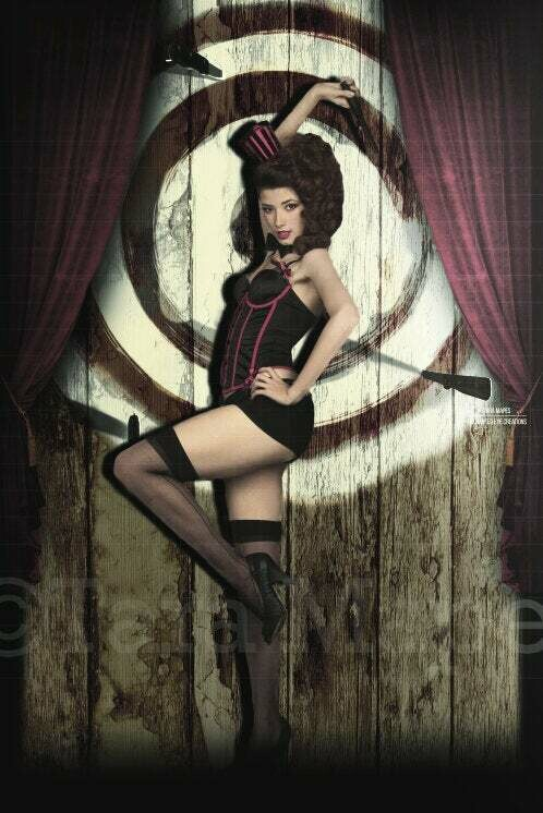 Vintage Circus Curtain and Knife Throwing Target Backdrop Digital Background Backdrop