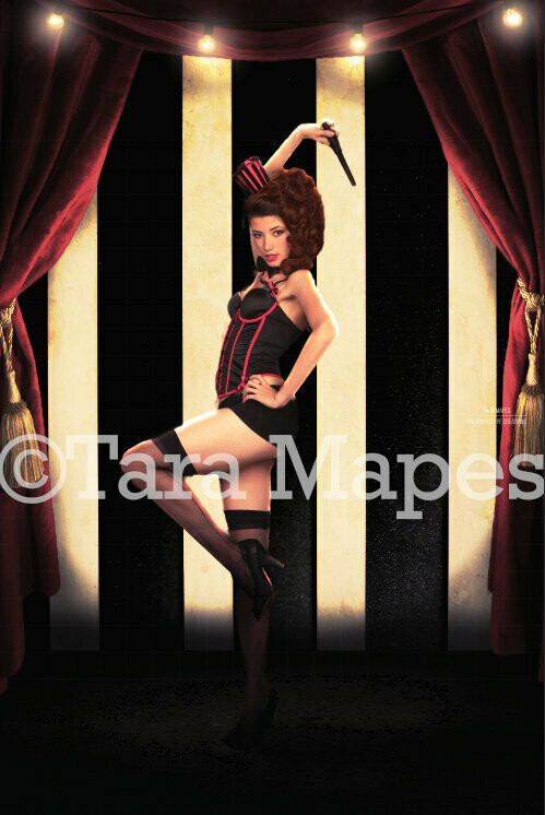Vintage Circus Curtain and Retro Background Digital Background Backdrop