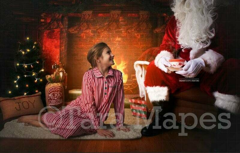 Santa Sipping Tea Cup by Fireplace Christmas Digital Background Backdrop