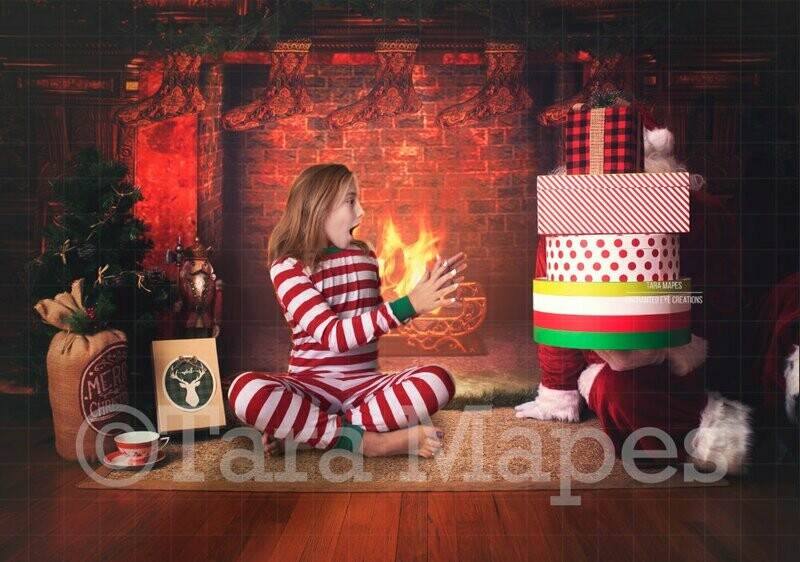 Santa with Stack of Gifts by Fireplace - Christmas Digital Background Backdrop