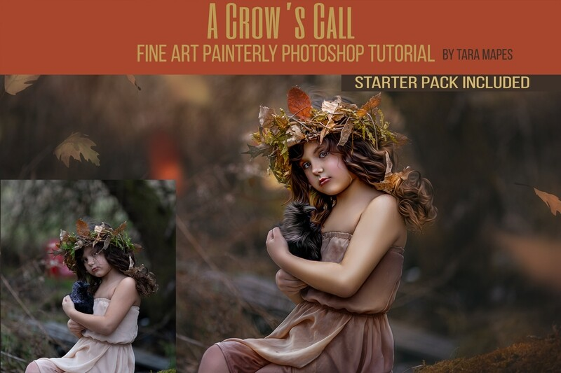 Crows Call Painterly Editing + Compositing Photoshop Tutorial with STARTER PACK- Fine Art Tutorial by Tara Mapes