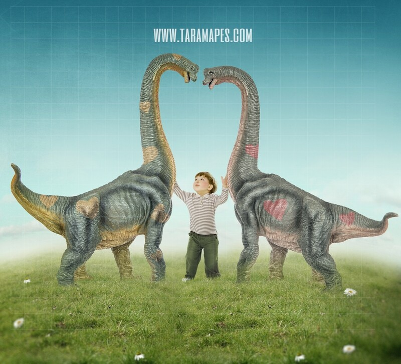 Valentine Dinosaurs - Nice Dinosaurs - Dinosaur Heart -Digital Background / Backdrop
