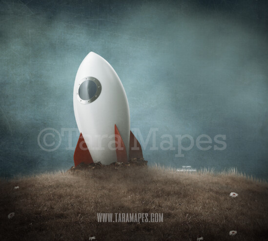 Spaceship on a Hill -Whimsical Space Scene - Astronaut -Space - Outerspace- Digital Background Backdrop