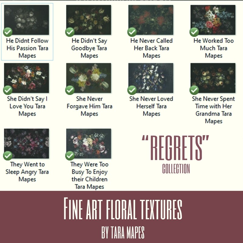 10 Old Masters Floral Textures -Floral Backdrops - Digital Backgrounds - REGRETS Photoshop Overlays by Tara Mapes