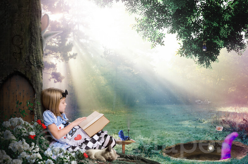 Alice by Tree -Alice in Wonderland inspired- Tunnel - Digital Background / Backdrop