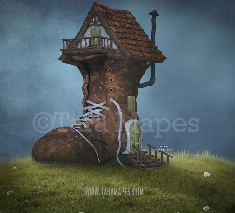 Shoe House on a Hill -Whimsical Scene - Shoe on Hill- Digital Background Backdrop