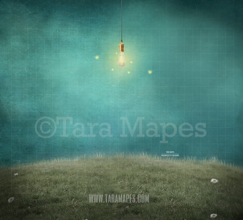 Magical Hill - Lightbulb and Fireflies on a Hill -Whimsical Scene - Digital Background Backdrop