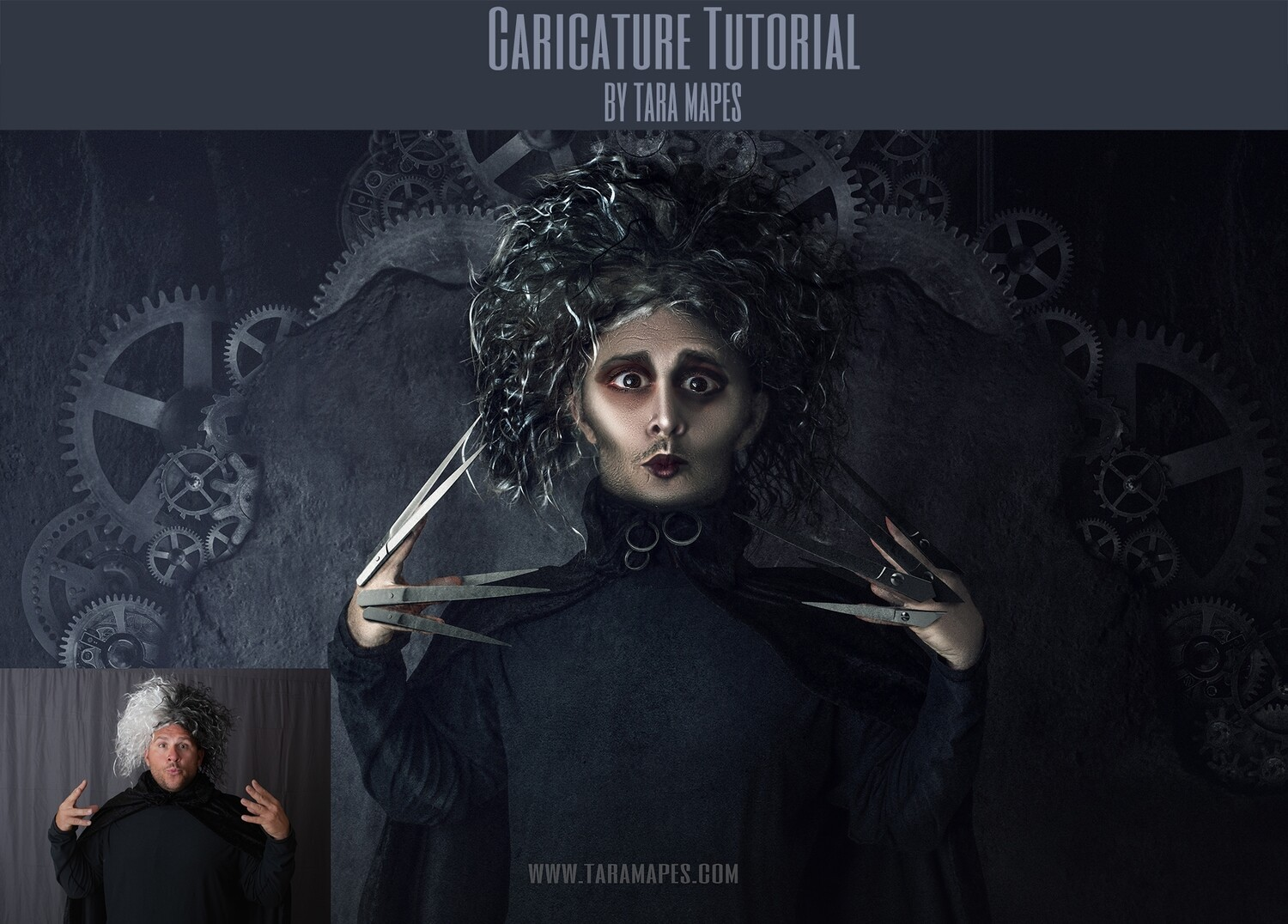 Edward Scissorhands Caricature Tutorial by Tara Mapes - Photomanipulation and Surreal Editing Tutorial