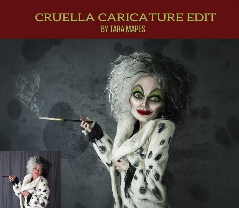 Cruella Caricature Tutorial by Tara Mapes - Photomanipulation and Surreal Editing Tutorial