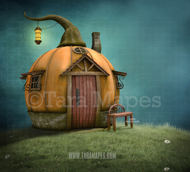 Pumpkin House on a Hill -Whimsical  Scene - Fairytale - Halloween- Digital Background Backdrop
