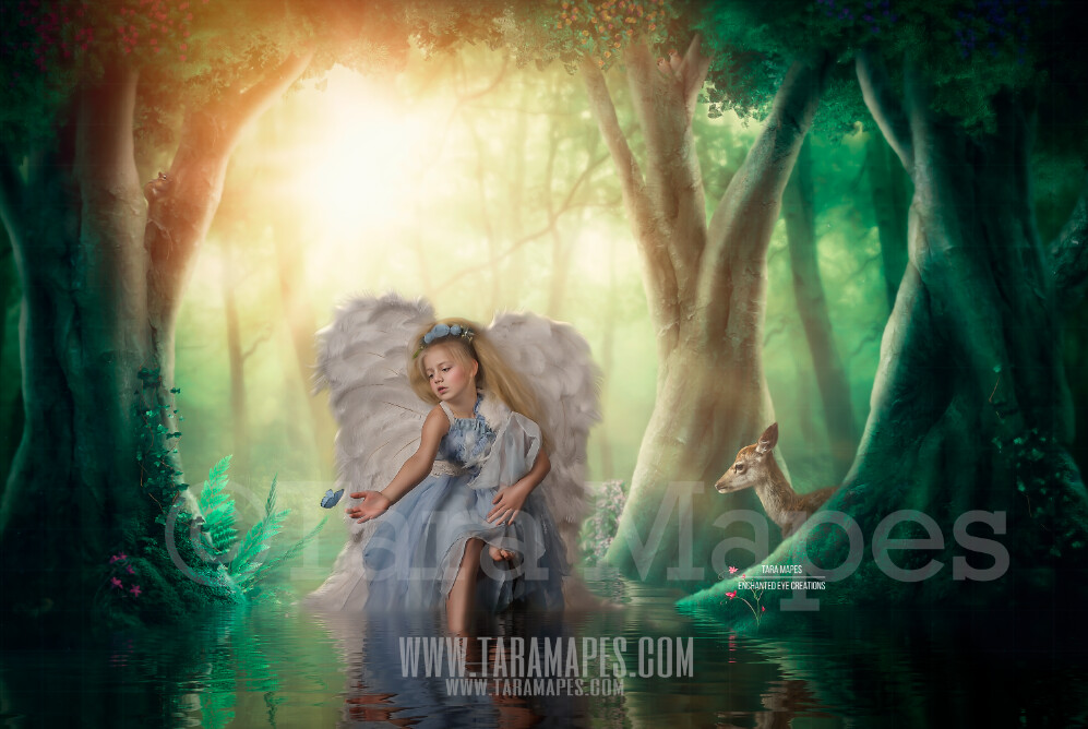 Enchanted Forest - Magic Fairy Trees by Pond - Magical Fairy Photoshop Digital Background / Backdrop