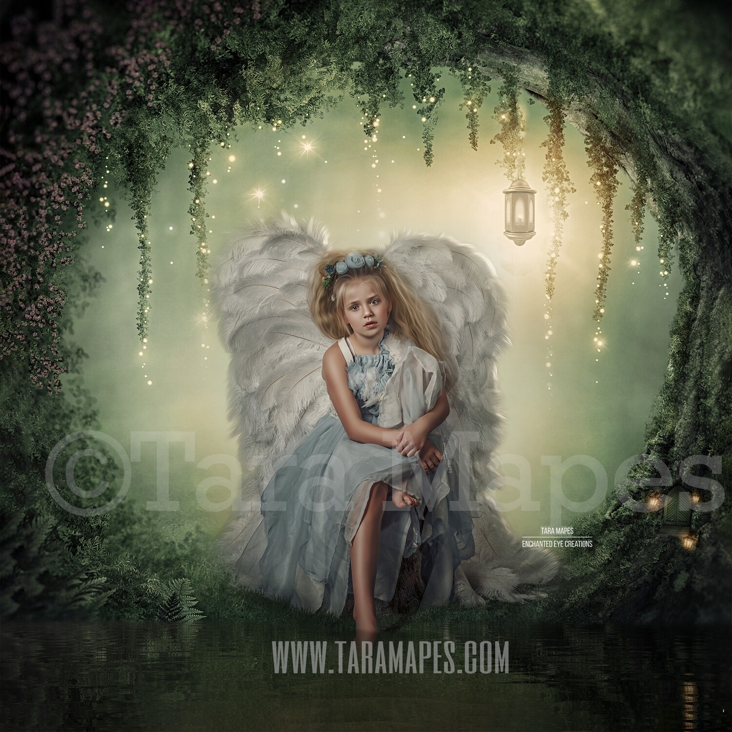 Enchanted Forest - Fairy Tree by Pond  Magical Fairy Photoshop Digital Background / Backdrop
