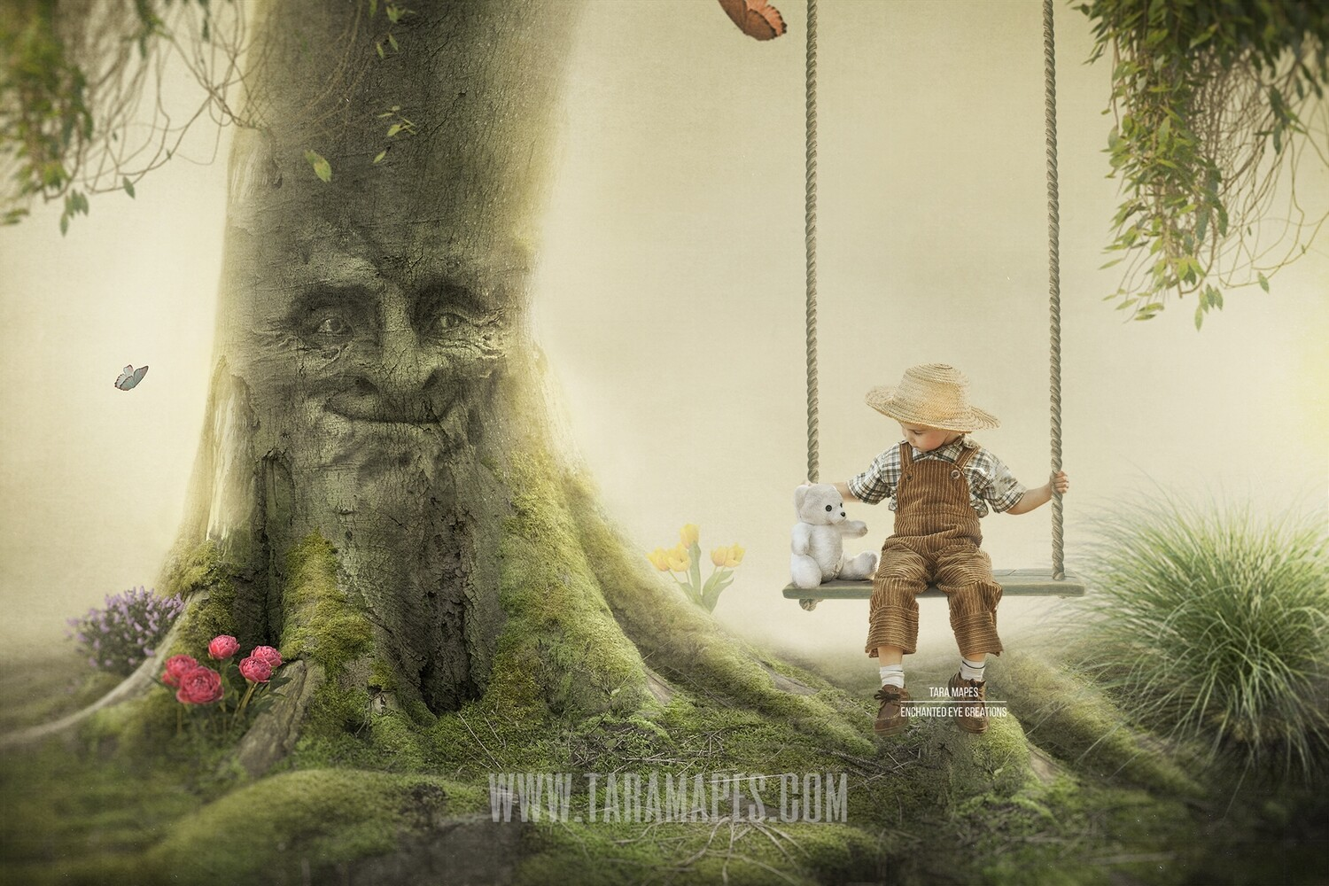 Enchanted Tree with Face - Tree Face in Enchanted Forest - Layered PSD  Digital Background Backdrop - Separate Element Layers -