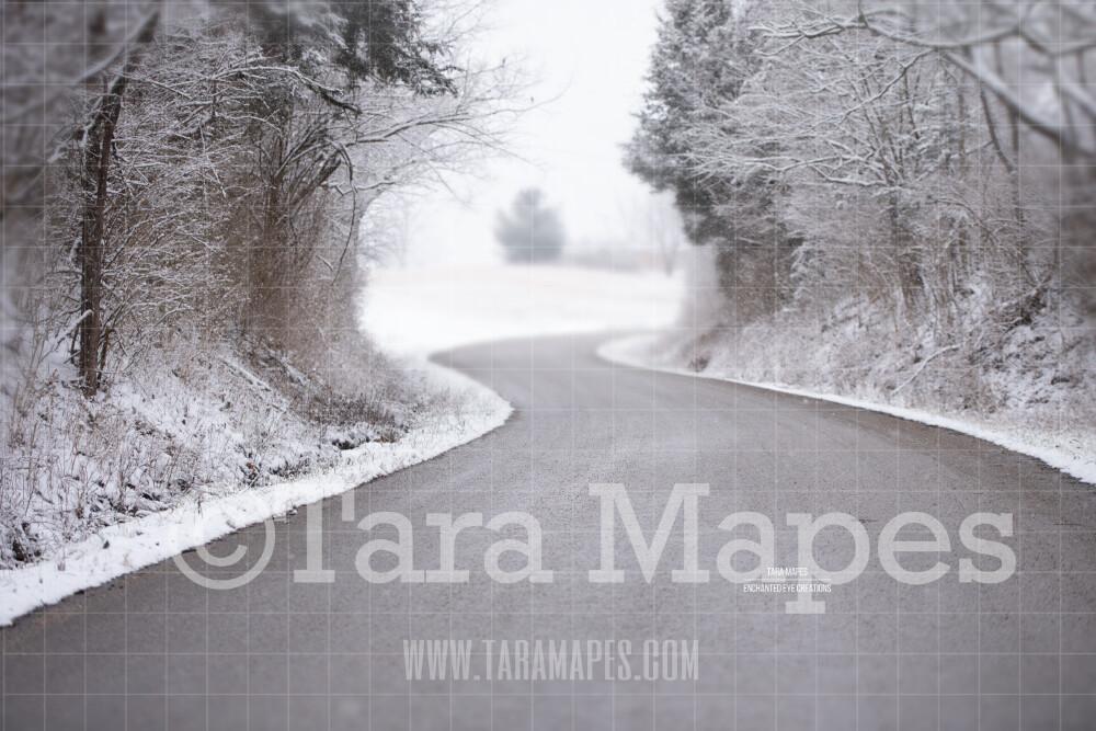 Snowy Street - Winter Path- Snowy Scene Digital Background plus FREE SNOW OVERLAY