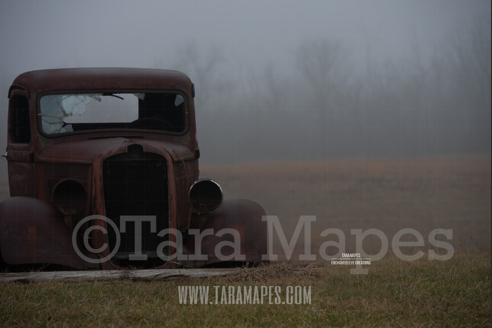 Vintage Truck in Fog - Foggy Background - Rusted Old Truck in Field of Fog Digital Background by Tara Mapes