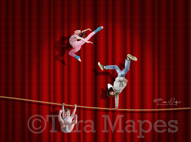 Circus Curtain - Tightrope - Vintage Circus Digital Background by Tara Mapes