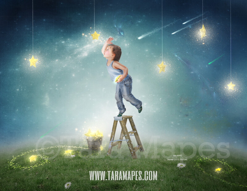 Bucket of Stars  - Star Catcher on Hill - Whimsical Layered PSD  Digital Background Backdrop - Separate Element Layers