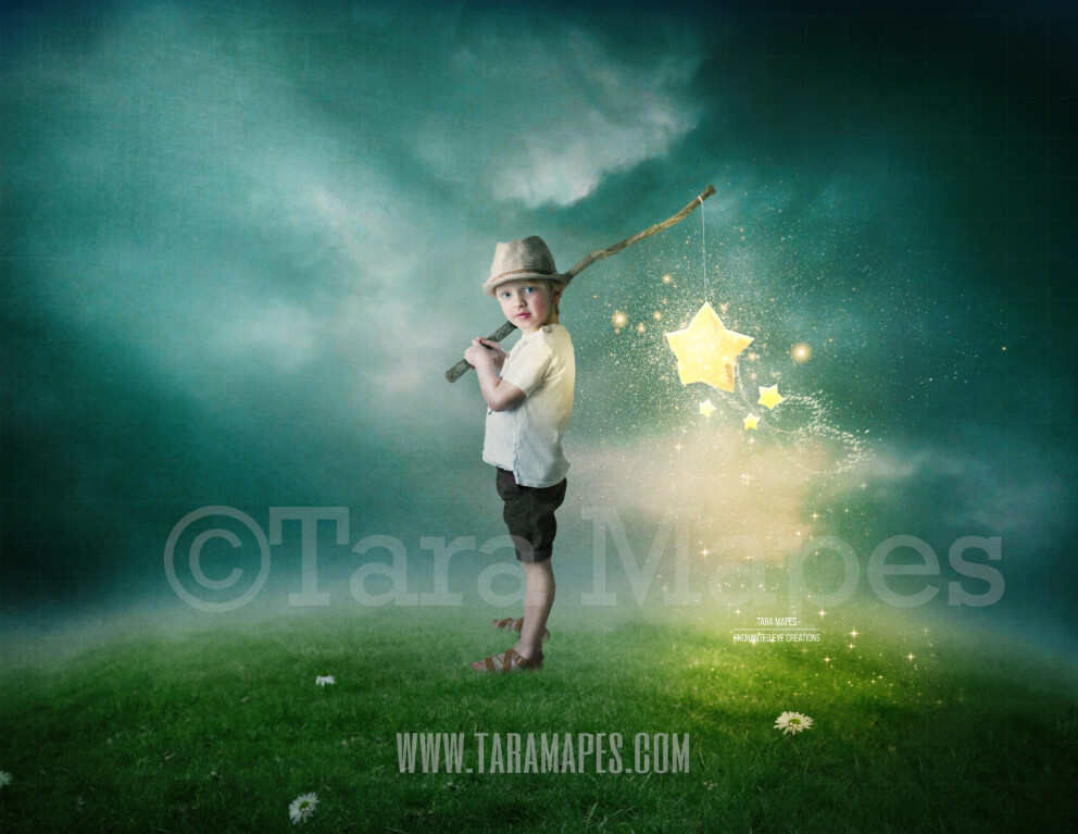 Star Hobo  - Star Catcher on Hill - Whimsical Layered PSD  Digital Background Backdrop - Separate Element Layers