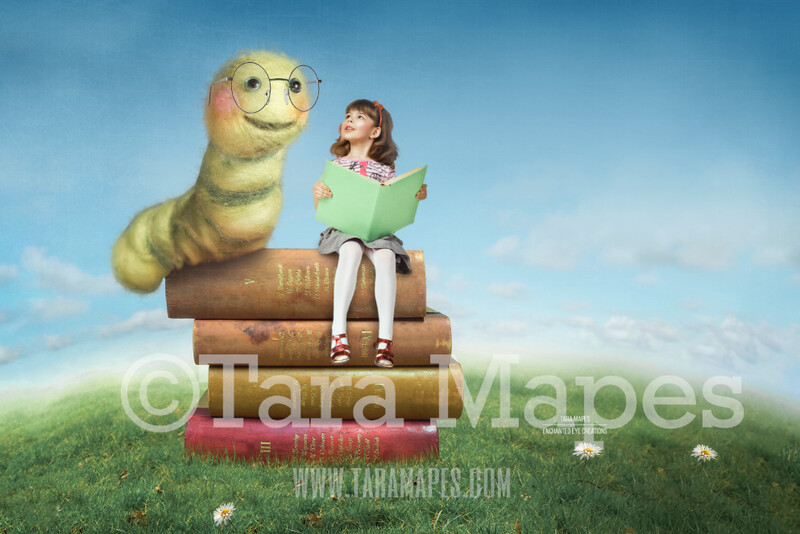 Book Worm Whimsical Reader Background- Book Lovers Scene- Hill with Blue Sky Digital Background Backdrop