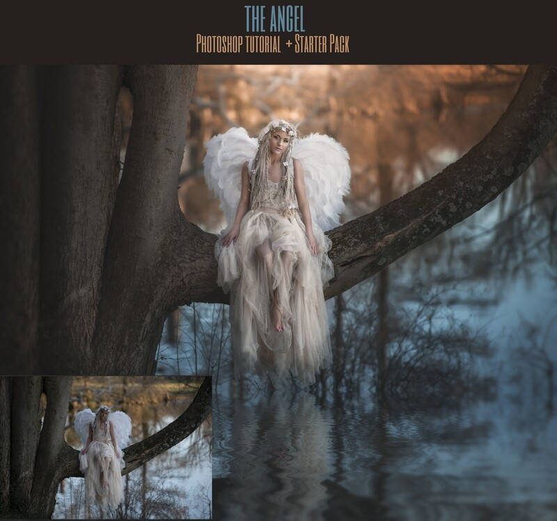 The Angel Painterly Editing Photoshop Tutorial with STARTER PACK- Fine Art Tutorial by Tara Mapes