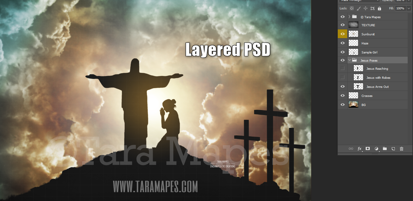 Jesus Silhouettes on Hill - 5 Different Background Options - Easter - Heavenly - Layered PSD  Digital Background Backdrop