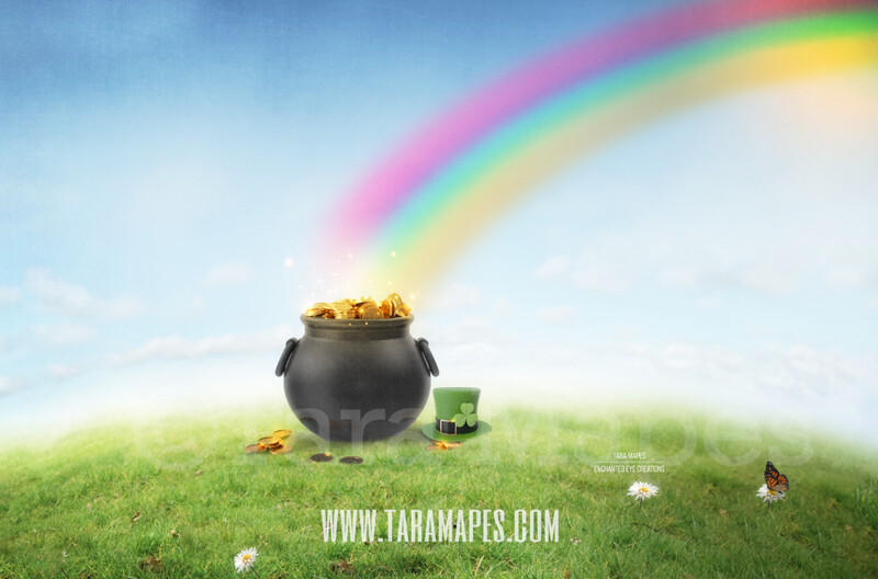 St. Patrick's Day - Pot of Gold - Gold at the End of a Rainbow - Digital Background