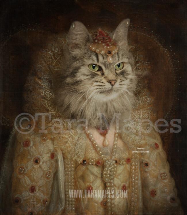 Royal Pet Portrait QUEEN Body PSD Template- Pet Painting Portrait Body 3 - Layered PSD  Digital Background Backdrop