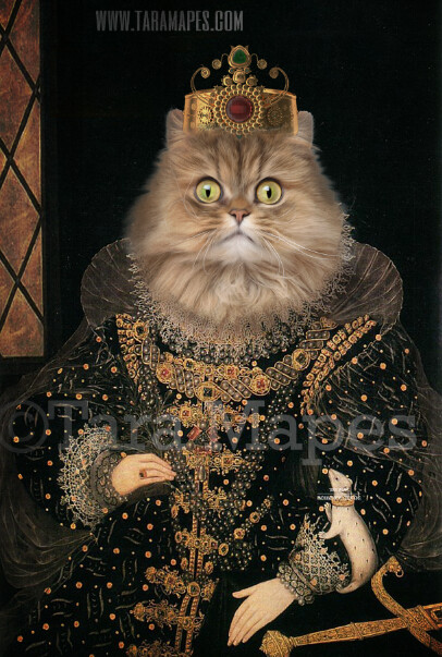 Royal Pet Portrait QUEEN Body PSD Template- Pet Painting Portrait Body 11 - Layered PSD  Digital Background Backdrop