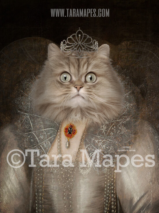 Royal Pet Portrait QUEEN Body PSD Template- Pet Painting Portrait Body 4 - Layered PSD  Digital Background Backdrop