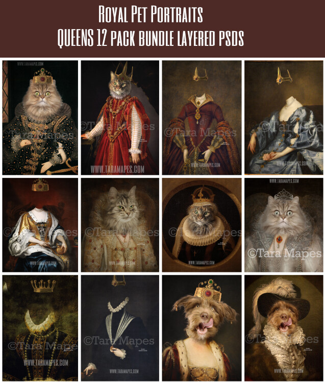 PACK OF 12 - Pet Portrait QUEENS PSD Template - Pet Painting Portrait Body- Layered PSD  Digital Background Backdrop