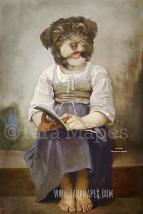 Child Pet Portrait Girl Body PSD Template- Pet Painting Portrait Body 1 - Layered PSD  Digital Background Backdrop