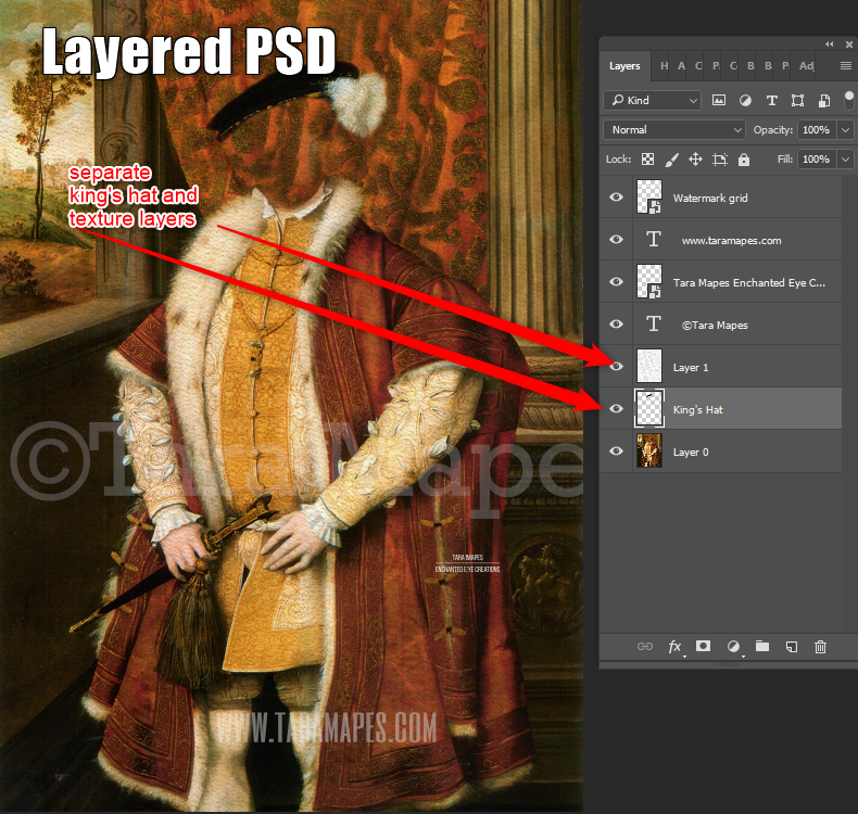 Royal Pet Portrait KING Body PSD Template- Pet Painting Portrait Body 1 - Layered PSD  Digital Background Backdrop
