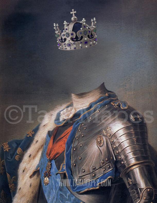 Royal Pet Portrait KING Body PSD Template- Pet Painting Portrait Body 7 - Layered PSD  Digital Background Backdrop