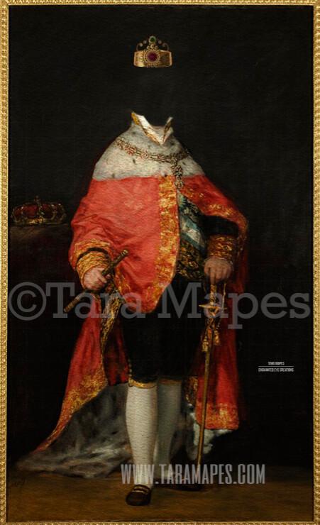 Royal Pet Portrait KING Body PSD Template- Pet Painting Portrait Body 10 - Layered PSD  Digital Background Backdrop