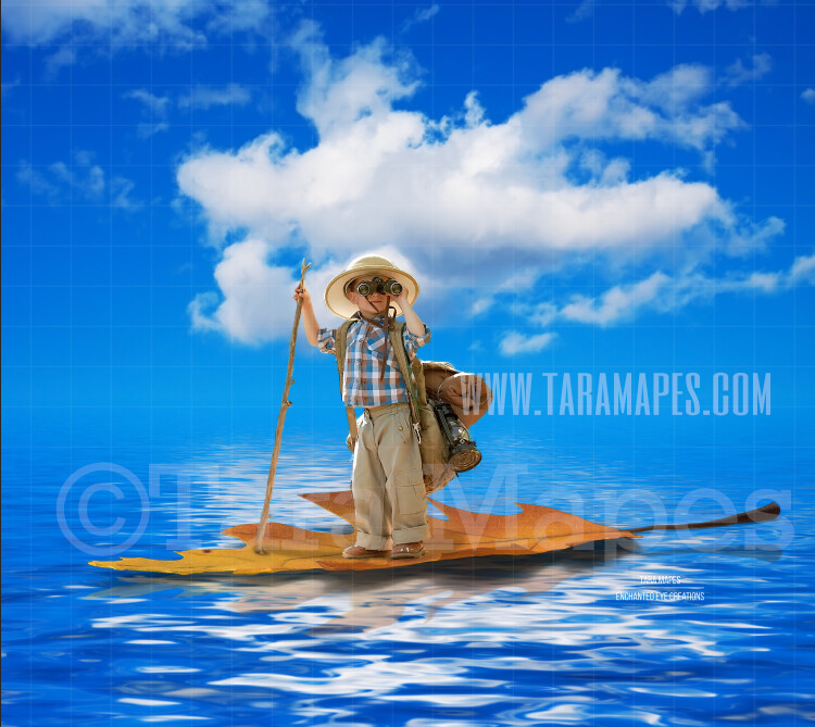Leaf Boat in Ocean Colorful Whimsical Digital Background Backdrop