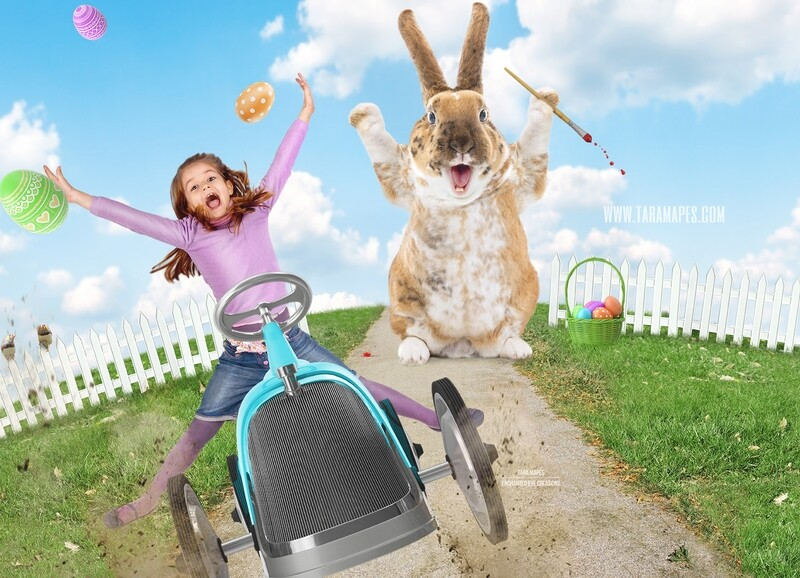 Easter Egg Thief- Easter Bunny Chasing Car on a Hill - Whimsical Digital Background LAYERED PSD - Tara Mapes