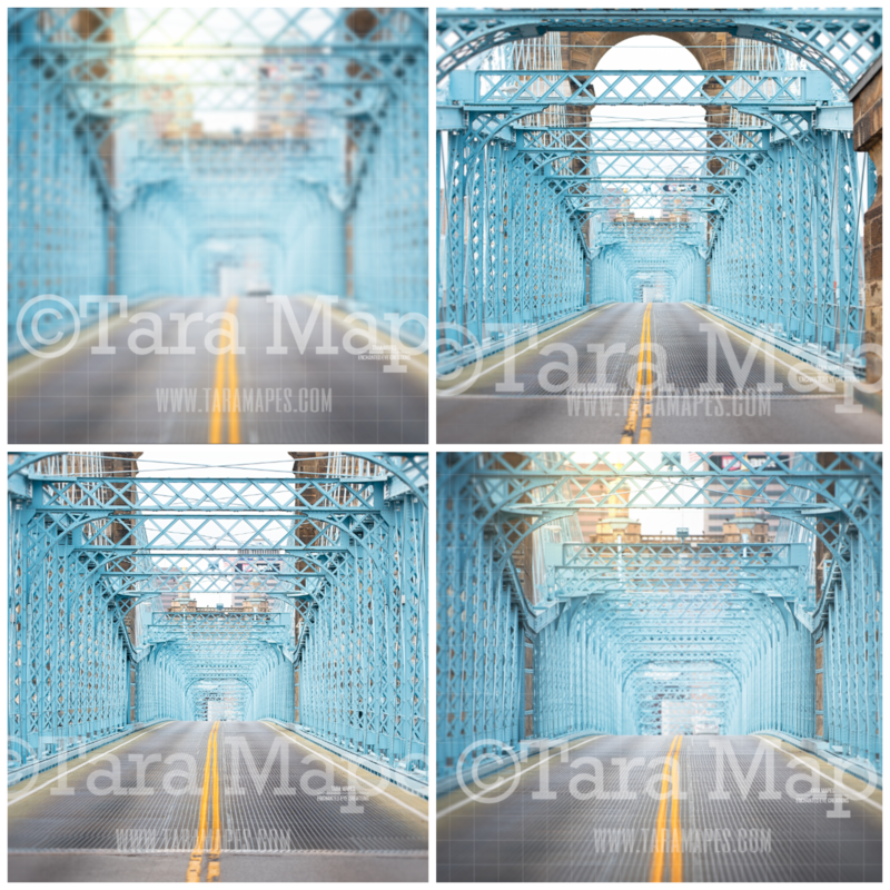 Blue Bridge 4 PACK - Bridge Background Digital Background Backdrop - 4 pack of Bridge Digital Backgrounds