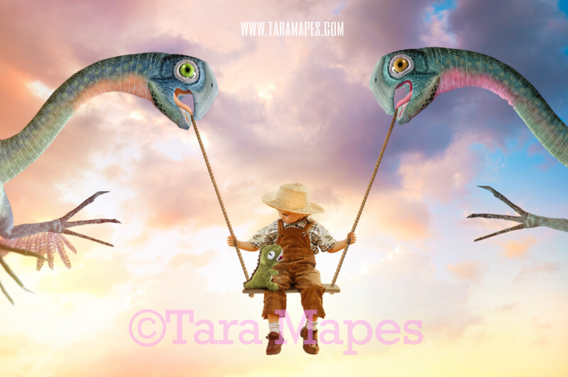 Funny Dinosaurs Swing- Whimsical Pair of Dinos - T Rex Funny Dinosaur Couple in Sky holding Swing - Digital Background - Dinos in Clouds Digital Background