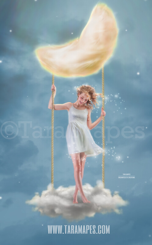 Moon Swing- Whimsical Moon Swing in Clouds and Stars - Digital Background JPG - Soft Creamy Magical Cloud Moon Night Scene by Tara Mapes