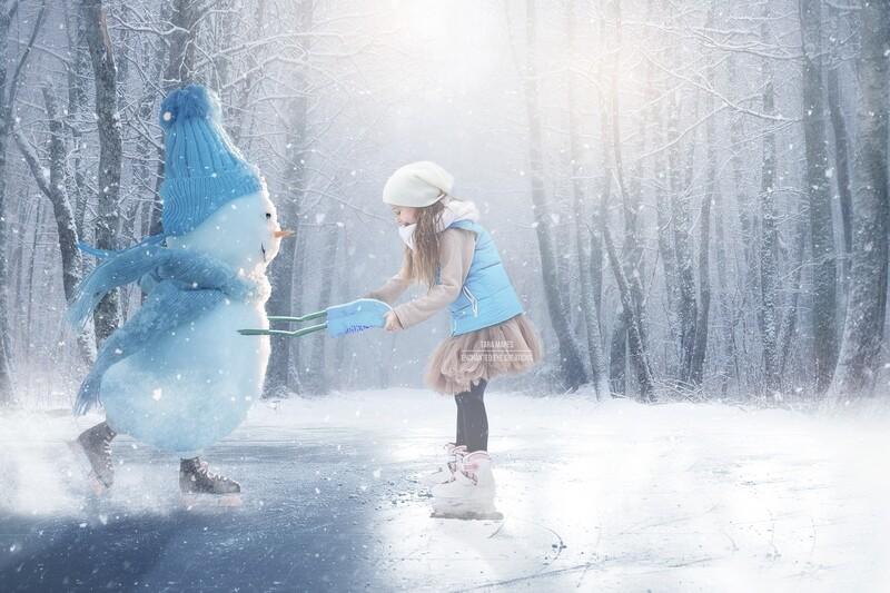 Snowman Iceskating -Snowman Ice Skating -Winter Snowy Scene- Separate Snow Overlay - Christmas Digital Background Backdrop