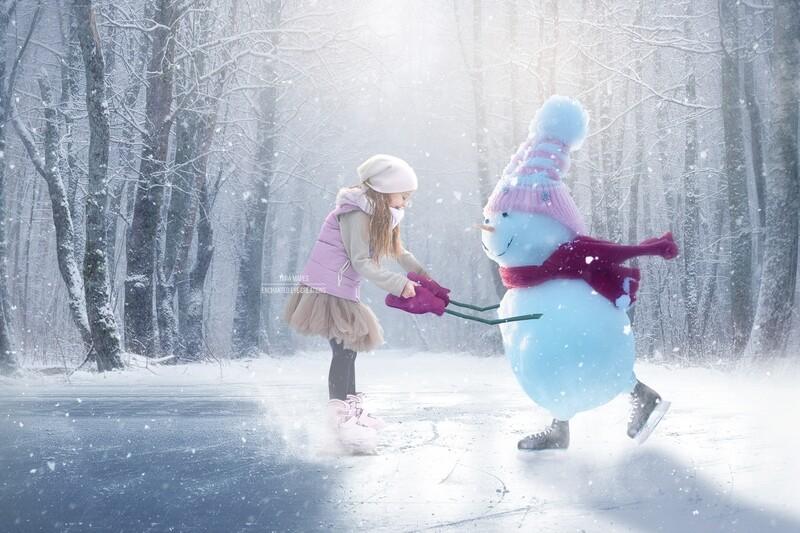 Snowgirl Iceskating -Snowman Ice Skating -Winter Snowy Scene- Separate Snow Overlay - Christmas Digital Background Backdrop