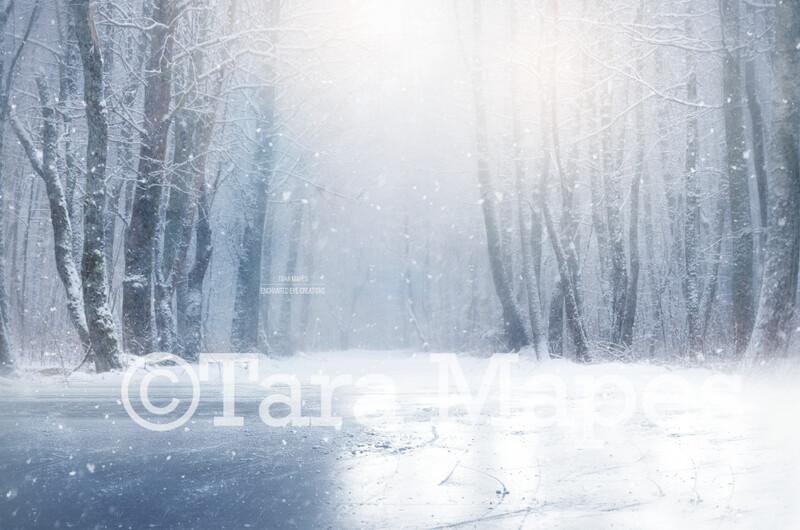 Frozen Iceskating Pond -Winter Ice Skating Scene - Ice Rink -Winter Snowy Scene- Separate Snow Overlay - Christmas Digital Background Backdrop