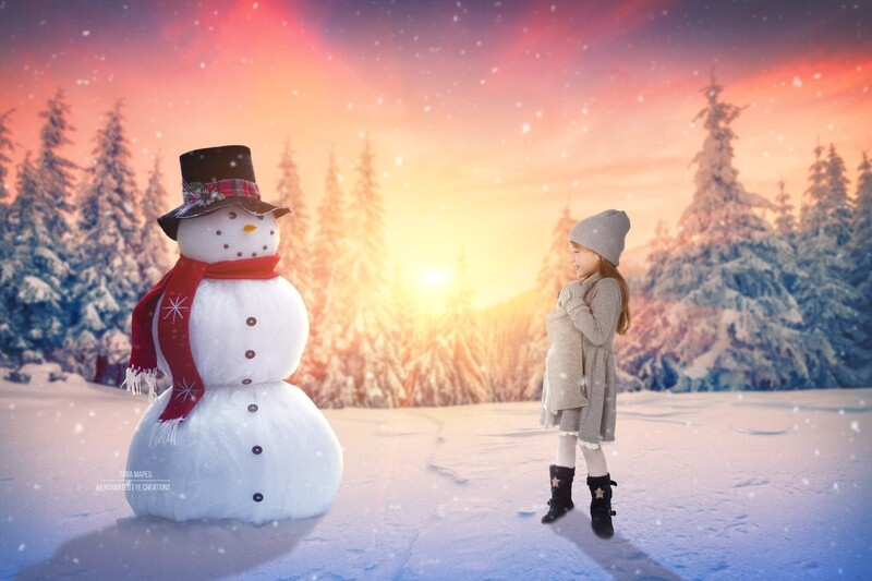 Snowman by Pines - Sunset- Frosty the Snowman-  Winter Christmas Digital Background Backdrop