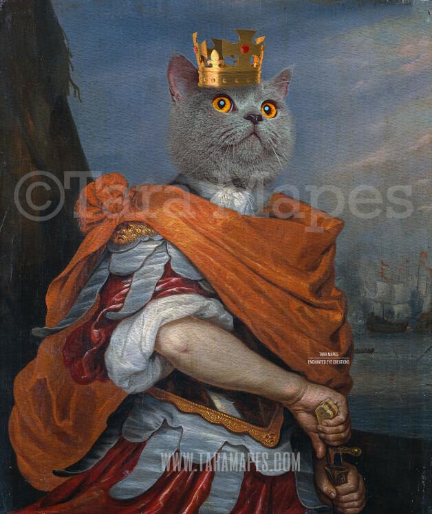 Royal Pet Portrait KING Body Layered PSD Template- Pet Painting Portrait Body 22-- Layered PSD  Digital Background Backdrop