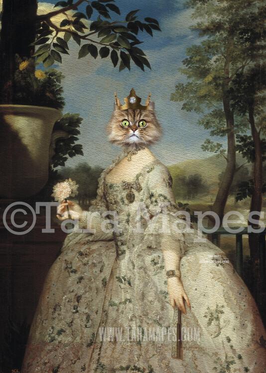 Royal Pet Portrait QUEEN Body PSD Template- Pet Painting Portrait Body 32 - Layered PSD  Digital Background Backdrop