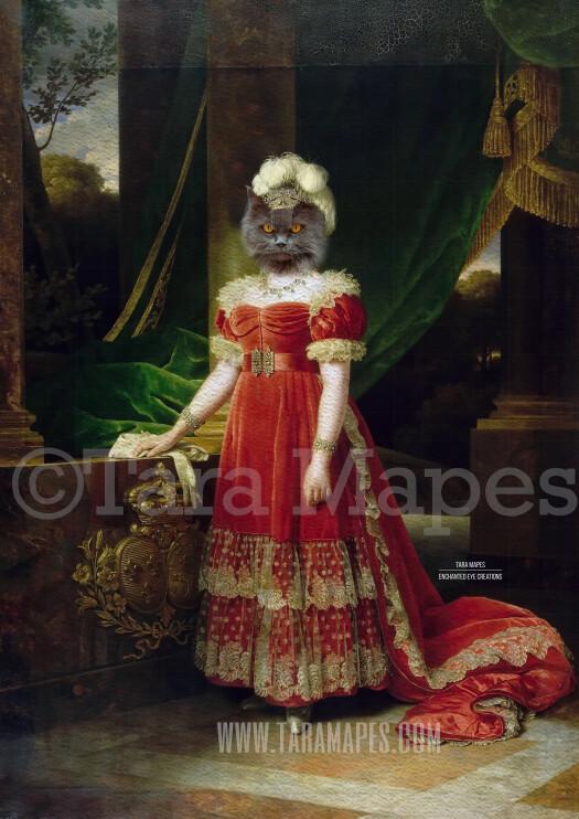 Royal Pet Portrait QUEEN Body PSD Template- Pet Painting Portrait Body 36 - Layered PSD  Digital Background Backdrop