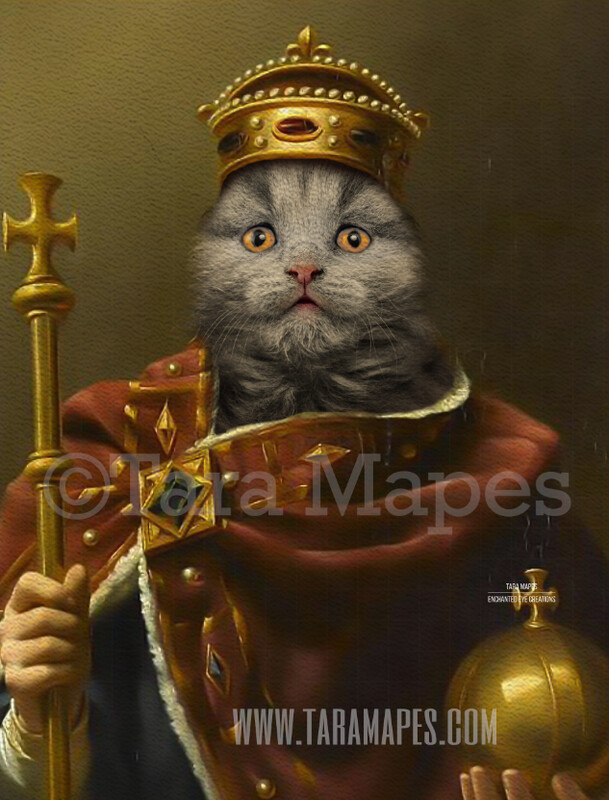 Royal Pet Portrait KING Body PSD Template- Pet Painting Portrait Body 23 - Layered PSD  Digital Background Backdrop