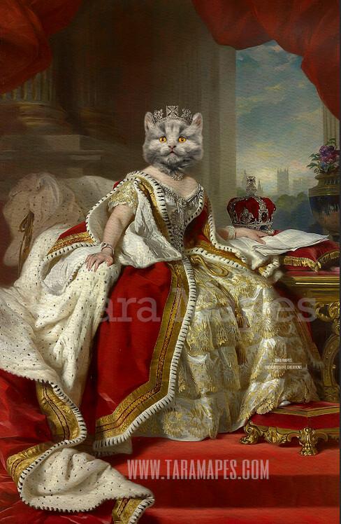 Royal Pet Portrait QUEEN Body PSD Template- Pet Painting Portrait Body 45 - Layered PSD  Digital Background Backdrop